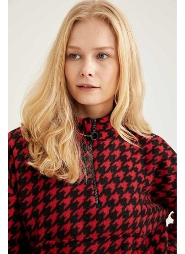 DeFacto Kaz Ayağı Desenli Polar Dik Yaka Sweatshirt Kırmızı